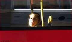 `2858 (roll the dice) Tags: london sunny mad sad fun funny happy smile reaction angry streetphotography people fashion sexy pretty girls urban england unaware unknown uk classic art portrait strangers candid canon tourism tourists wisdom light natural bus window glass face westend westminster w1 traffic bored colours reflection