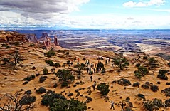 Overlooking Mesa Arch (Kamera Clips) Tags: arch canyon mesaarch overlook overview landscape landscapes nature canyonlands nationalpark national park canyons sky clouds colorful travel family fun adventure hiking hike
