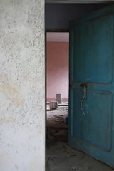 the entry in an another world (sandrorotonaria) Tags: door ruin house blue pink entry
