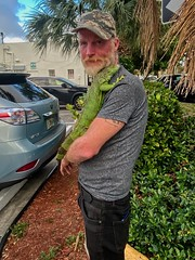 Curb lunch with Iggy Pop (LarryJay99 ) Tags: people guys studly man male men guy manly handsome dude iguana facialhair dudes virile pets lizards reptiles