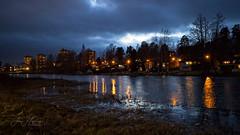 Small town nightscape (JHaffling) Tags: vinter hagfors mörkt kväll stad sweden dark night moody city landscape landskap water vatten reflection spegling canon eosr