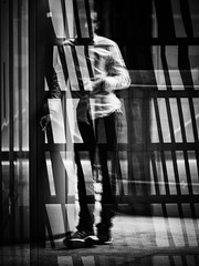 Trapped. (kitchou1 Thanx 4 UR Visits Coms+Faves.) Tags: france summer art paris street people city bw europe exterior world nb