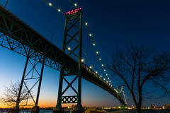Bridging North America (Neil Cornwall) Tags: 2020 canada detroitriver january ontario windsor sunset