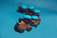Love messenger (7 Blue Nights) Tags: locomotion flickrfriday candy lookingcloseonfriday train locomotive heart blue chocolate dof depthoffield macro candies love messenger