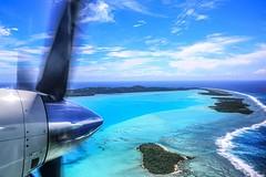 Pacific Ocean Jewel (kiwi photo lover) Tags: aitutaki southpacificcookislandsaitutakilagoon atoll secluded islands coralreef beaches airport runway turquoise blue clouds sky aircraft saab340b poet charlotteballard reflection