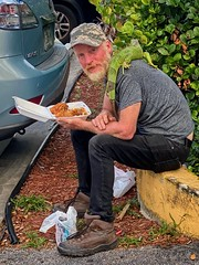 Curb lunch with Iggy Pop (LarryJay99 ) Tags: people man guy guys iguana dudes studly virile male men manly handsome dude facialhair pets lizards reptiles