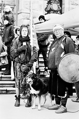 Flag Lady, Drummer and Companion (tyson_laidler) Tags: victoriabc doublex eastman5222 35mm analog monochrome moviefilm cinema demonstration legislature britishcolumbia canada