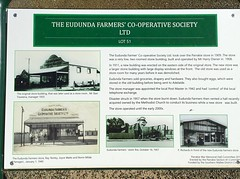 "Parrakie. INformation board on history of Eudunda Farmers store in Parrakie. Store opened 1909. Rebuilt 1911. New store built around 1960 after 1957 fire. (denisbin) Tags: ""murray mallee"" parrakie hall i statute "" information board"" ""eudunda farmers"" farmers"