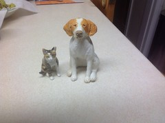 Tabby tortoiseshell and Brittany spaniel (jkitowski86) Tags: animals pets brittany spaniel epagneul breton ceramic ceramics figures sculptures art clay dogs cats