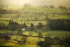 Patchwork in green (tonguedevil) Tags: landscape view outdoor outside countryside winter cumbria lakedistrict fields trees hills mist colour light shadows sunlight sunrise