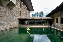 Pool, sculpture and buildings (John Hewitt 7) Tags: luminosity7 nikond850 melbourne australia ngv nationalgalleryofvictoria reflectivepool roygrounds architecture modernbuildings sculpture lemon calebshea contemporaryart