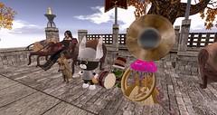 Harvest Festival (Osiris LeShelle) Tags: secondlife second life avilion nexus medieval fantasy roleplay combat harvest festival fae quende elf hatchie cat sousaphone dolly