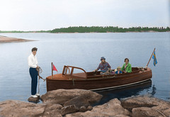 A boatride in the 1910s (frankmh) Tags: boat family archipelago gävle sweden colorization landscape
