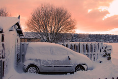 I'll have to dig the car out tomorrow (M McBey) Tags: winter sunset car snow drift renault modus cold sky