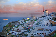 Early morning Arrival at Oia (Dimitil) Tags: aegean cyclades greece hellas oia architecture chapel greekislands greeksummer greektradition islands patrimoine preservablesettlement sea summer tourism traditionalsettlement windmill santorini greecehellas