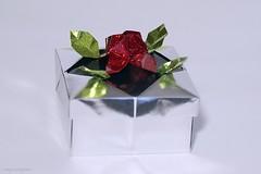 Origami Rose Decoration Box (Akiko Yamanashi) (De Rode Olifant) Tags: origamirosedecorationbox akikoyamanashi rosedecorationbox origamibox origami 3d diagrams marjansmeijsters paper paperart papiroflexia box bosmagazine198 origamidecorationboxwitharose noamagazine289
