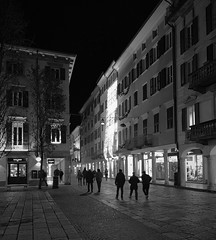 Building Lights, Varese - Explore (mswan777) Tags: street urban store building people walk night city cityscape light block stone architecture sky apple iphone iphoneography mobile monochrome white ansel black silhouette