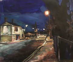 The College Public House Wakefield acrylic 12 by 10 Inches (Captain Wakefield) Tags: acrylic oil road nighttime nightmare night art pub public cityscape landscape modern burton samuel artist contemporary impressionist house painting