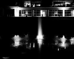 Water Effects At Night (that_damn_duck) Tags: blackandwhite blackwhite bw water building nighttime windows architecture fountain