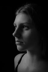 DSCF6462-15 (YouOnFoto) Tags: girl meisje woman vrouw eyes ogen hair haar intens intense black white zwart wit moody lowkey shadow schaduw