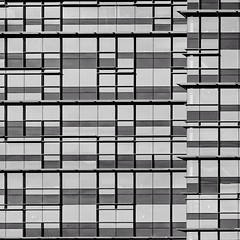Abstract Architecture (2n2907) Tags: abstract architecture glass office building windows skyscraper graphic geometric geometry pattern lines graphical design square squares facade blackwhite bw