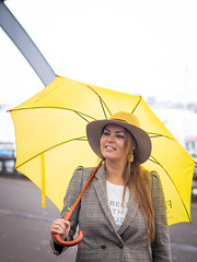 Naomi, Amsterdam 2019: Prepared for the weather (mdiepraam) Tags: naomi amsterdam 2019 amsterdamcentraal portrait pretty attractive beautiful elegant classy gorgeous dutch blonde girl woman lady naturalglamour hat earrings umbrella