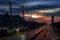 Georg-Brauchle-Ring München (Roman Achrainer) Tags: georgbrauchering münchen strasse blauestunde nachtaufnahme achrainer olympiahalle stadion olympiagelände auto