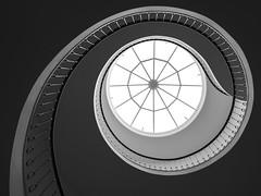 classic spiral (Blende1.8) Tags: spiral wendeltreppe stairs staircase treppe treppenhaus glassroof glasdach treppenauge lines linien architecture essen interior monochrom mono blackandwhite sw theater elegant elegance curves curvy treppenschnecke