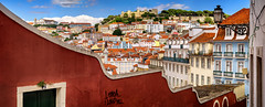 Lisboa I loved you (Pietro Faccioli) Tags: lisbon portugal street sunny afternoon sky blue serene quiet houses roofs view perspective facade window downhill hill slope typical picturesque castle historical graffiti