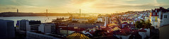 Yellows of Lisbon (Pietro Faccioli) Tags: portugal lisbon sunset yellow river bridge shine sun panorama view evening winter sky urban town port
