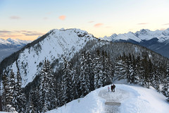 The Lookout (Anthony Mark Images) Tags: sunset mountains sulphurmountain trees snowcoveredtrees banff banffnationalpark people family lookout canada alberta canadianrockies beautifulview winter nikon d850 flickrclickx