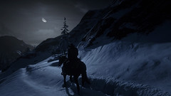 Night in Snowy Mountain : RDR2 (Chiradeep.) Tags: rdr2 reddeadredemption2 mountain snow night landscape horse wildwest snowymountain cold openworld game ps4 playstation explorer moon silhouette
