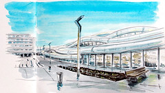 Rennes, nouvelle gare (dominiquerichard) Tags: dessin aquarelle gare rennes bretagne architecture