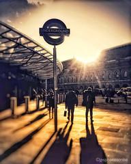 London, between meetings (stewardsonjp1) Tags: uk stpancras kingscross commuter woman man businesswoman flare glare sunlight winter footpath work travel station sign director businessman meetings coffee train tube underground commute england london