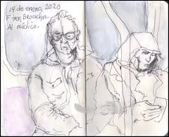F tren, Brooklyn. Al médico. 14 de enero, 2020. (Sharon Frost) Tags: subways brooklyn passengers ftrain journals sharonfrost urbansketchers drawings