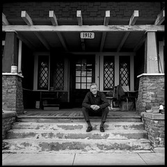 Tom Scribner on Front Porch 1973 (jimhairphoto) Tags: 1973 tomscribner wobbly iww america théâtrederue documentary portrait remainsoftheday naturalworld rolleiflex tlr 35automat k4a manufacturedin1953 twinlens rollei 120 film 120film agfa iss blackandwhite blancetnoir schwarzeweiss blancoynegro blancinegre siyahrebeyaz jimhairphoto