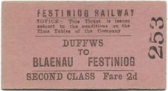 Festiniog Railway Ticket (R~P~M) Tags: train railway ticket edmondson festiniograilway ffestiniog wales cymru narrowgauge uk unitedkingdom greatbritain
