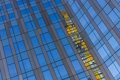 Yellow Strip (Karen_Chappell) Tags: yellow blue windows glass building lasvegas travel usa city urban nevada lines abstract reflection reflections rectangle geometry geometric skyscraper canonef24105mmf4lisusm