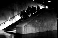The group (pascalcolin1) Tags: paris13 hommes men woman women groupe group escalier stairs steps marches lumière light ombres shades nuit night photoderue streetview urbanarte noiretblanc blackandwhite photopascalcolin 50mm canon50mm canon