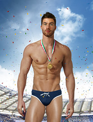Olympic gold (irestless) Tags: arm arms air allaperto abdominal body beard chest colors color clouds eye eyes face fly gold hairy hair hot hand irestless lips light nipple leg legs sport man men model models muscles male moustache neck new naked original uomo portrait persone person sky athlete swimmer stadium olympic games swimsuit
