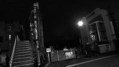 Leamington Lift Bridge at Night 04 (byronv2) Tags: edinburgh tollcross edinburghbynight edimbourg scotland blackandwhite blackwhite bw monochrome night nuit nacht leamingtonliftbridge liftbridge bridge history engineering ledpanel led unioncanal canal fountainbridge