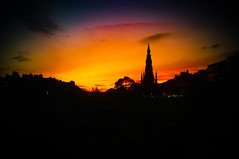 Evening Cityscape Silhouette Edinburgh (Brian Travelling) Tags: scotland pentax evening cityscape silhouette sunset black colours coloursofscotland edinburgh golden gold amber yellow purple blue red scott monument
