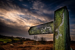 15th January 2020 (Rob Sutherland) Tags: footpath sign post signpost fingerpost direction public rightofway dark brooding sky lichen lakes lakeland lakedistrict nationalpark ldnp cumbria cumbrian england english uk britain british lowick common furness ulverston ladshead