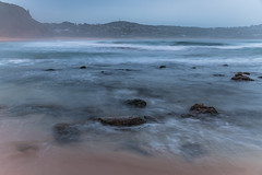 Soft Dawn Seascape under Cloud Covered Sky (Merrillie) Tags: daybreak sunrise hazy dawn nature water blanketed landscape sea sky waves newsouthwales rocks earlymorning morning seascape coast ocean australia nsw cloud coastal macmastersbeach outdoors waterscape clouds centralcoast cloudy macmasters