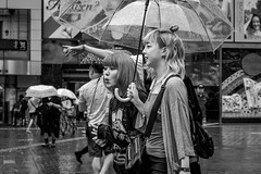Tokyo 2019 (burnt dirt) Tags: shibuya tokyo japan asia japanese asian candid documentary street photography downtown metro urban city scramble crossing outdoor people person fujifilm xt3 fujinon 50mm f2 bw blackandwhite monotone monochrome woman girl smile laugh train station style fashion life real crowd tourist emotion expression portrait close nippon rain umbrella wet