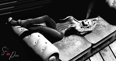 The Sound of Silence... (Biatch Fenwitch) Tags: sexi~poses smoke uc su blueberry realevilindustries masoom tableauvivant the~rusty~nail cigarette lighter couch relaxing sexy blackwhite
