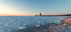 On the beach (Chris (Midland05)) Tags: charlevoix michigan pentax pentaxk1 unitedstates ice water beach lighthouse ship dusk sunset