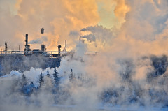 Welcome to the Machine (evanlochem) Tags: refinery petroleum oil industry anthropogenic steam smoke clouds frigid cold winter january alberta canada north saskatchewan river valley edmonton