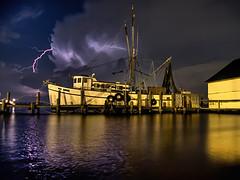The Miss Sandra - Fernandina Beach Florida (thepres6) Tags: shrimpboat nightshot nighttime lighting storm thunderclouds clouds water pier moored fernandinabeach florida