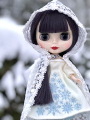 """""""Where did you go? In the silence of the snow? Under the white so deep? For your winter's sleep.  As the elements unfold, You hide from the cold. And dream of Spring..And all it will bring."""" Daunting Drusilla in Gerda Eternity stock (Painters Life) Tags: cold winter gerdaeternity blackhair goth takara blythe dauntingdrusilla snow"""